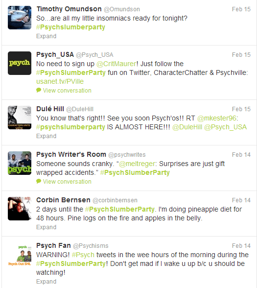 Psych Slumber Party Tweets