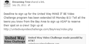 Dreaming Tree Films | United Way Video Challenge | Social Media Management